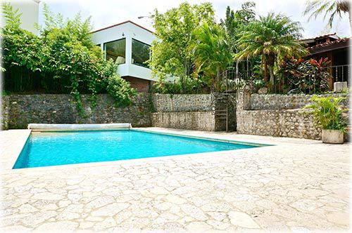 costa rica, one level home, for sale, in Escazu, swimming pool, 3 bedrooms, guest suite, studio apartment,