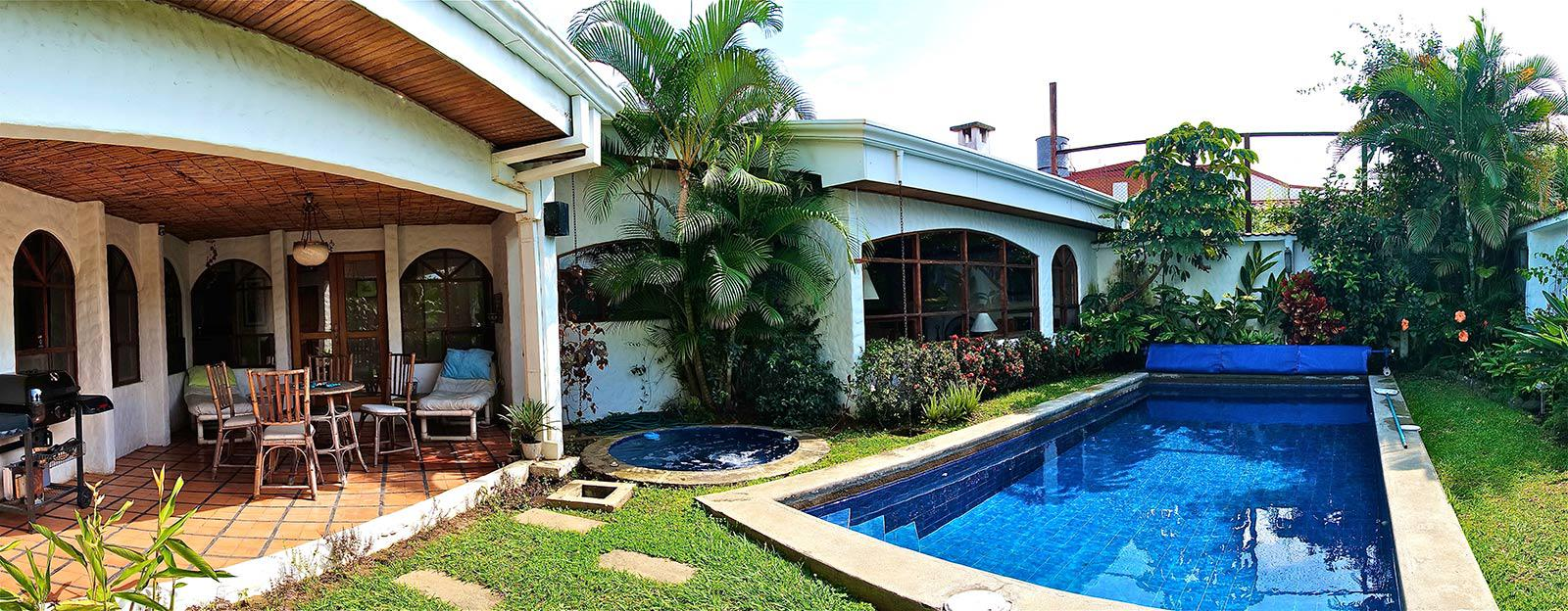 san jose, costa rica, one story home, for sale, private solar heated swimming pool, one level home, in gated community, 24/7 secure condominiu