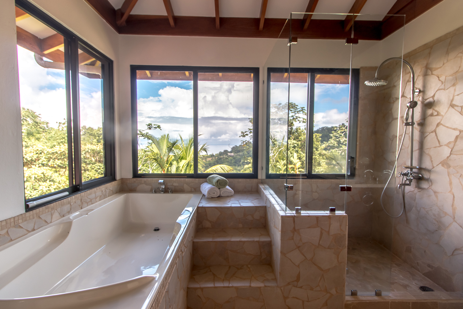 jungle surroundings, ocean views, pool, privacy, beach properties, mountainside, bahia ballena, beach, south pacific real estate